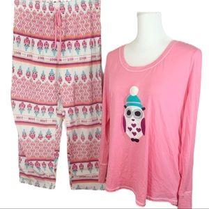 Kensie Penguin Pajama Set Fleece Pants- Size XL